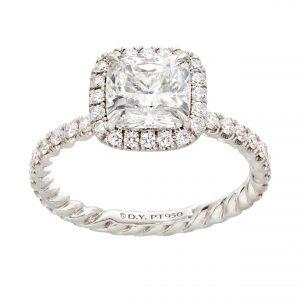 470-00006 | Diamond Ring with Cushion Halo