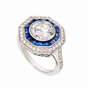 130-00070 | Platinum Diamond & Sapphire Ring
